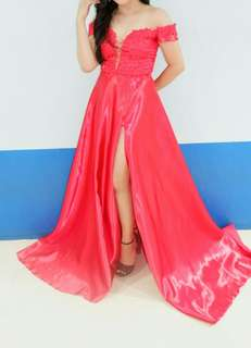 Red Gown with Slit