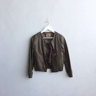 BARLEY GRASS Leather Bomber