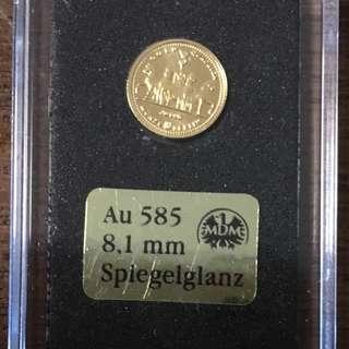 14K Gold Coin, Deutschland , 2010 , Quadriga Gold.