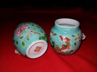 Old unused hand drawn Peranakan porcelain hwamei/shama bird cups