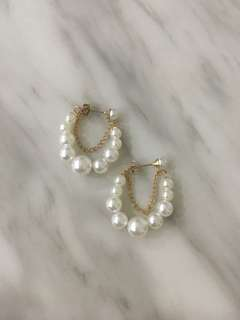 Harper and gem pearl hoops