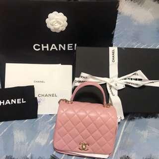 100%real Chanel 2018最新款 粉紅色 可手挽 斜咩 全套齊