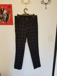 Dark brown/black tartan pants