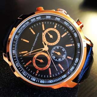 NEGOTIABLE-Brand New French Connection 44mm Rose Gold/Black Watch