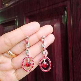 Chain Earrings with Red diamond stone