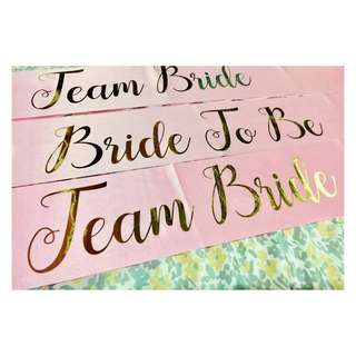 Bride To Be / Team Bride Pink Sash