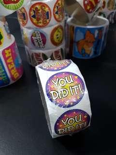 [INSTOCK] BN Roll of YOU DID IT! Reward/Merit Stickers (Oriental Trading)