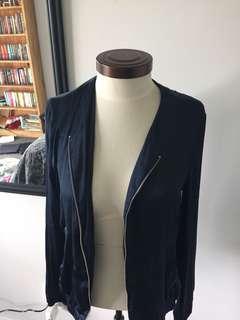 Dark Blue Silk Cropped Jacket