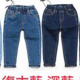 孩子的素色彈性skinny牛仔褲 (復古藍11)