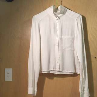 H&M Cropped White Long Sleeve Blouse