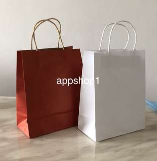 Kraft bag, paper bag (medium) - red/white : goodie bags packages, goody bag carrier