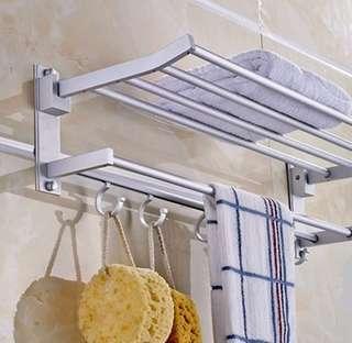 Rak dinding tempat handuk kamar mandi gantungan alumunium