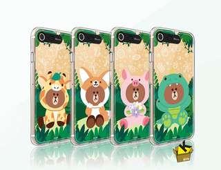 Jungle Brown 閃閃殼 iphone7/8/+/ iphoneX case light up dino brown