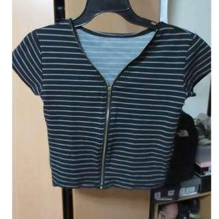 Black Stripes Zip-up Crop Top