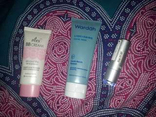BB cream pixy, facial mask wardah, lipstick catrice