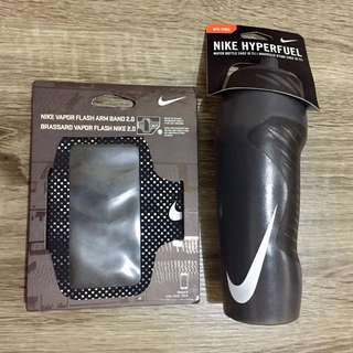 Black NIKE 24oz Hyperfuel Water Bottle and Arm Band Bundle