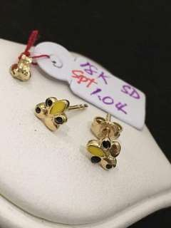 Pure gold stud earing