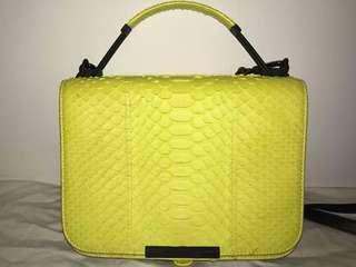 Emilio Pucci Leather-trimmed neon python shoulder bag