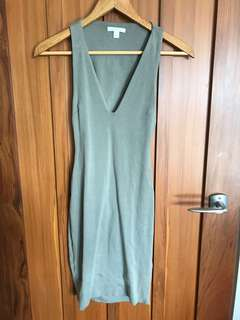 Kookai khaki green midi dress