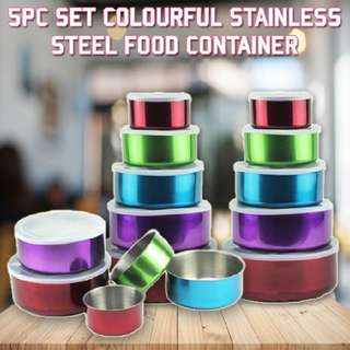 5Pc Set Colourful Stainless Steel Food Container  Rm30 Inc pos semenanjung  Pm Wasap 0176725125