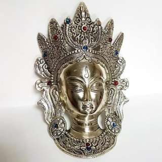 Buddha full Face silver coated metal home display peace