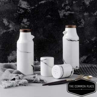 INSTOCK Nordic Marble Salt & Pepper Shaker Ceramic Kitchen Holder Cooking Tools