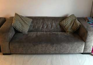 Designer Sofa (Suede leather 3 + 1) - less than 2 year old