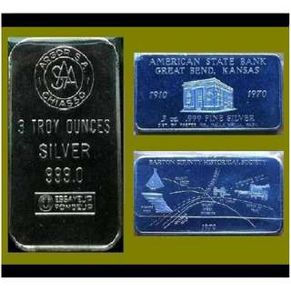 ♦ or Nearest Offer - Choice Mix, 1 Lot - 2x 3 (6) Troy Oz. 999 Fine Silver Classic / Art bars