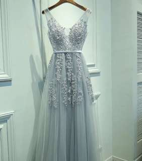 Silver Grey Elegant Evening Dress