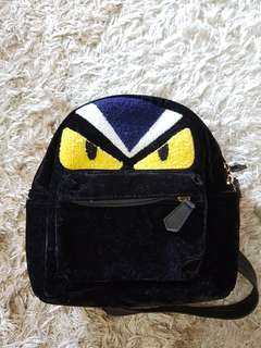 Fendi Monster Suede Mini Backpack