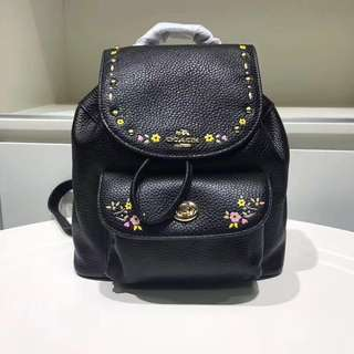 Coach Mini Billie Backpack with floral tooling - black