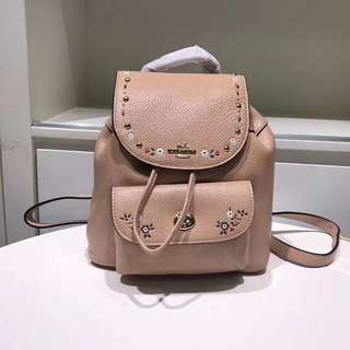 Coach Mini Billie Backpack with floral tooling - beige
