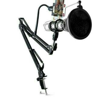 TERMURAH!! CONDENSOR  Microphone & Phone Stand Holder 360 Degree