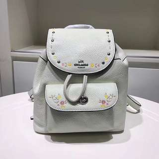 Coach Mini Billie Backpack with floral tooling - white