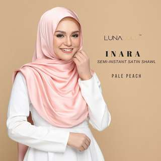 Inara Semi-Instant Satin Shawl by Lunalulu (Pale Peach)