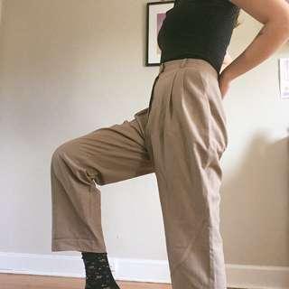 Pleated Vintage Beige Trousers