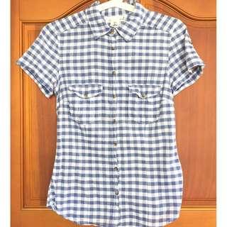 🚚 H&M 短袖格子襯衫