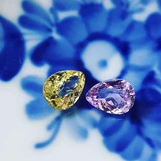 Lilac Spinel & Yellow Chrysoberyl  pair