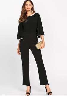 P2mart ✌🏼✔Pre order stock ✔Binding Flare Sleeve Tailored Jumpsuit Boat Neck