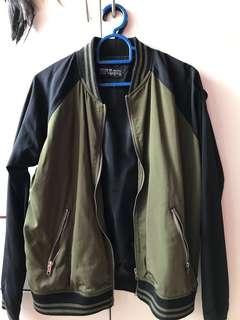 Army green raglan Bomber Jacket