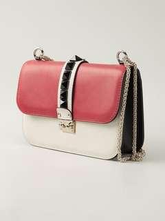 Valentino Glam Lock Rockstud Shoulder Bag
