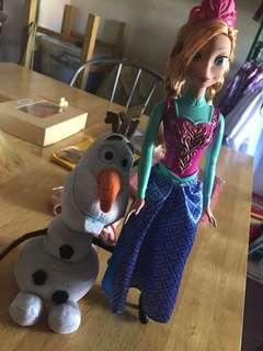 Ana Disney doll + Olaf TY