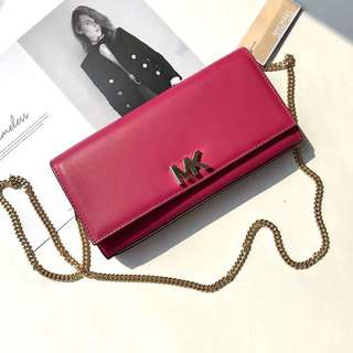 Michael Kors Turnlock Nappa Leather WOC / wallet On Chain - dark pink