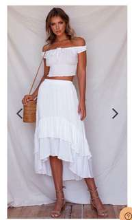 White smocked off shoulder top ruffle maxi skirt terno