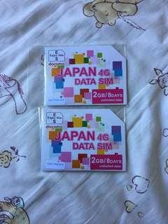 日本4G無限data,5月31號到期,$50兩張,急轉讓