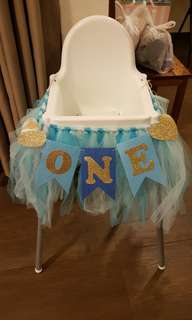 Baby High Chair Tulle Skirting with Banner