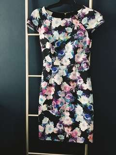 Watercolor print floral dress