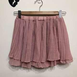 🚚 腰圍鬆緊百摺粉色褲裙