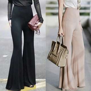 Long Flare Pants High Waisted HW (Wine Red)