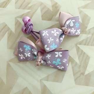 🚚 手作緞帶蝴蝶結髮繩一對(紫色雙層)